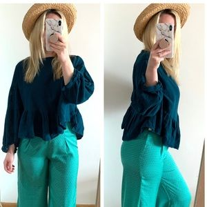 Free People muslin oversized top teal Sz small
